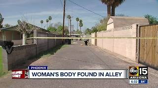 Woman's body found in Phoenix alley, police investigating as homicide