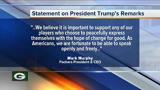 Green Bay Packers President Mark Murphy responds to President Trump's comments on the NFL - Video