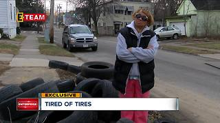 Tires dumped in Cleveland neighborhood, residents angry with lack of response to the problem - Video