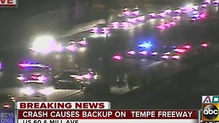 Crash in Tempe causing traffic backups - Video