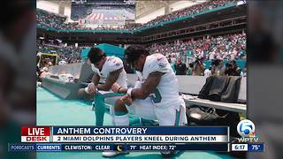 Two Miami Dolphins players kneel during National Anthem - Video