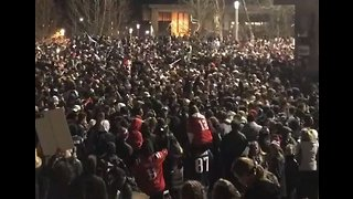 Students at UMass Amherst Gather on Campus to Celebrate Patriots Super Bowl Win