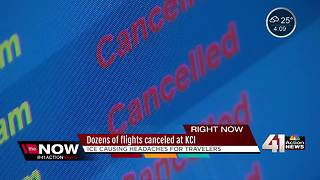 KCI cancels and delays flights due to ice storm - Video