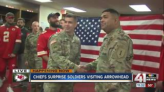 Kansas City Chiefs players surprise men and women in uniform - Video