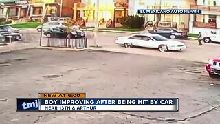 Boy improving after being hit by car
