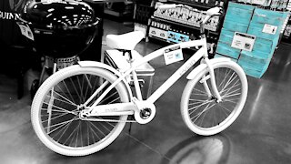 Completely White Bicycle Evian Bike