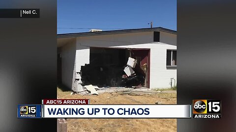 Hit and run driver forces car into home