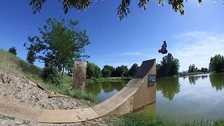 Skater Finishes His Tricks With Water Landings - Video