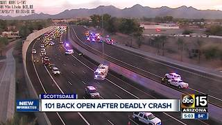 101 reopened after being shut down for hours after motorcyclist struck and killed - Video