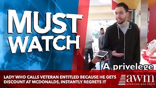 Lady Who Calls Veteran Entitled Because He Gets Discount At McDonalds, Instantly Regrets It - Video
