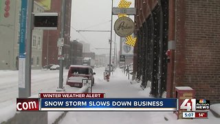 Winter snow impacting downtown business