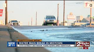 Crews fixing water main break in Midtown Tulsa - Video