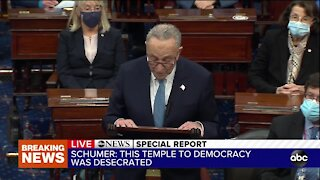 Sen. Chuck Schumer delivers remarks after pro-Trump riot at Capitol