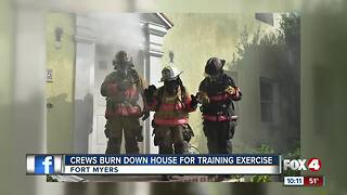 Crews Burn Down House for Training Exercise - Video