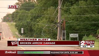 Power poles knocked down in Broken Arrow after storms rip through