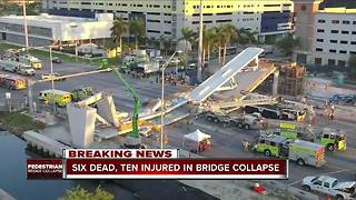 Six people dead in Florida bridge collapse, recovery mission underway for additional victims - Video