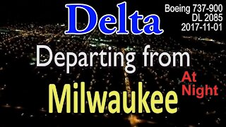 Delta flight departing Milwaukee airport at night in Boeing 737-900 @MitchellAirport