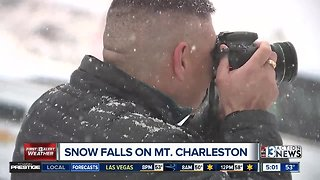 Snow falls on Mount Charleston