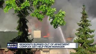 Residents burned out of apartment complex get help from manager - Video