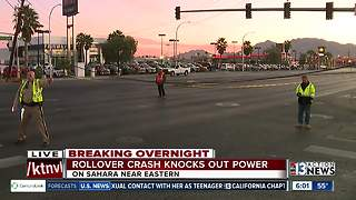 Rollover crash knocks out power Friday morning - Video