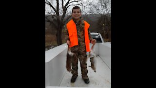 WARNING! Young Hunter Shoots His First Two Rabbits Ever!