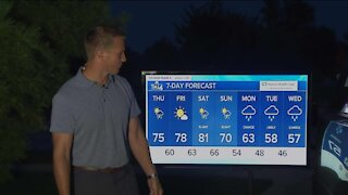 Beautiful Thursday, highs in the mid-70s with a slight chance for rain this afternoon
