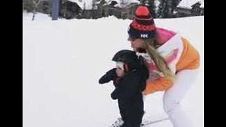 Toddler Takes to the Slopes for His First Ski Lesson
