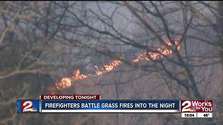 Multiple fire departments battle Kellyville grass fires - Video