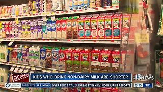 Children who drink non-dairy milk are shorter, says study