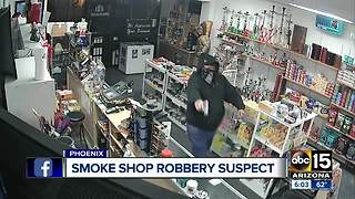 Phoenix police searching for smoke shop robbery suspect - Video
