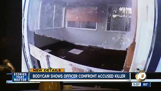 Graphic warning: Bodycam shows officer confront accused killer - Video