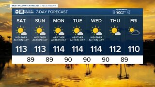 FORECAST: An Excessive Heat Warning remains in effect as we head toward a Valley high of 113 today