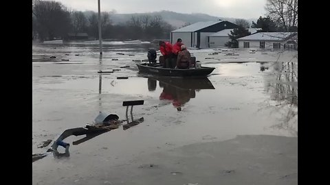 Emergency Responders Conduct Rescues as Floodwaters Rise in Iowa