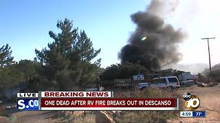 One dead after RV fire in Descanso - Video