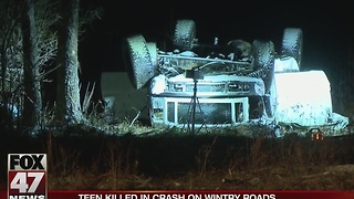 Teen killed in crash on wintry roads over the weekend - Video