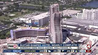Guitar-shaped hotel nearly complete - Video