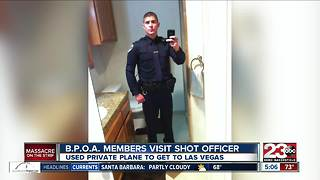 BPOA members visit Bakersfield officer shot in Las Vegas shooting - Video