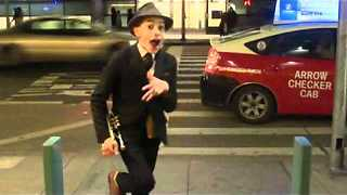 Child street performer puts on dazzling performance