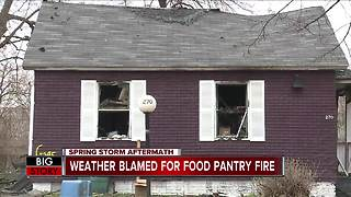 Downed power line blames for fire that destroyed food pantry - Video