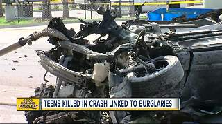 Sheriff: Three teens who died in fiery car crash were involved in a series of car burglaries - Video