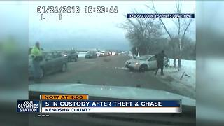 5 people in custody after theft and chase in Kenosha County - Video