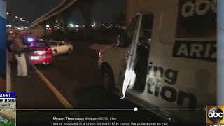 ABC15 vehicle struck by another car while stopping to render aid - Video