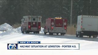 Haz-Mat situation at Lewiston Porter High School, acid mixed in swimming pool - Video