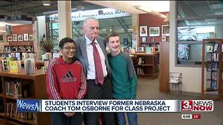 Middle schoolers interview Tom Osborne - Video