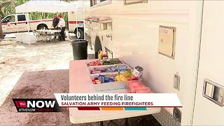 Salvation Army helps feed hundreds of firefighters - Video