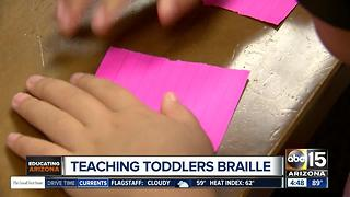 Toddlers learning braille