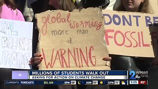 Hundreds of students walk out to protest climate change