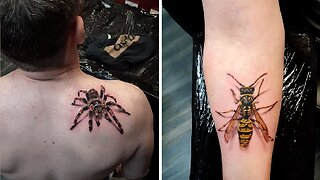Artist creates creepy hyper-realistic tarantula and wasp tattoos