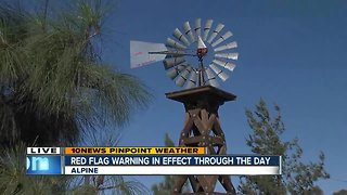 Winds gusting during Red Flag Warning