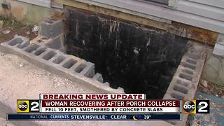 Woman falls through steps and is trapped under concrete - Video